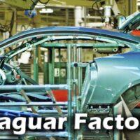 ジャガー工場(英国キャッスル・ブロムウィッチ)の生産ライン(Fタイプ、XJ、XF、XE、など)